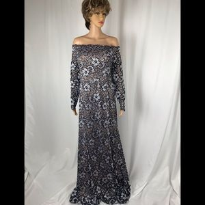 Navy Blue Lace Off the Shoulder Evening Gown
